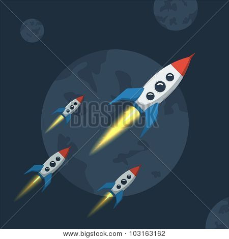 Flying spaceship in outer space. Flat style vector illustration for rocket against the backdrop of dark planet. poster