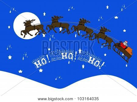 Santa And Reindeer Against A Starry Sky With Moon