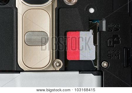 Sd Memory Slot On The Back Of Smartphone