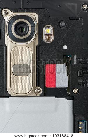 Closeup Of Smartphone Camera Module And Sd Memory Slot