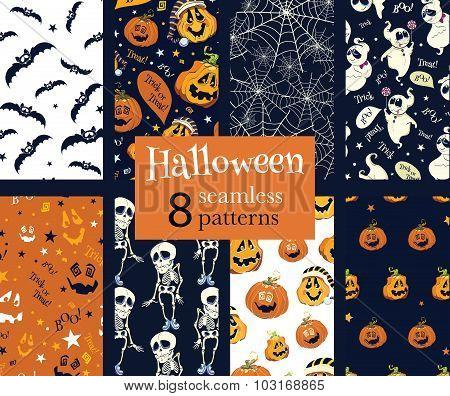 Vector Fun Helloween Pumpkins Skeleton Ghost Nine Set Seamless Pattern. Isla Vista California. Danci