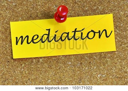 Mediation Word On Notepaper With Cork Background