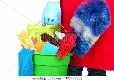 Maid hands with cleaning tools. House cleaning service concept. poster