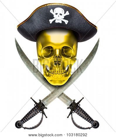 Jolly Roger in a cocked hat with sabers