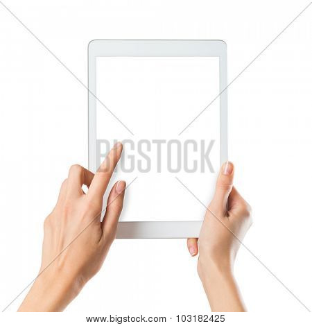 Closeup shot of a woman typing a text on digital tablet isolated on white screen. Girl holding a palmtop with white display. Female hands holding a modern digitaltablet with with screen.