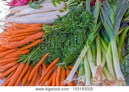 Carrots, leeks and herbage