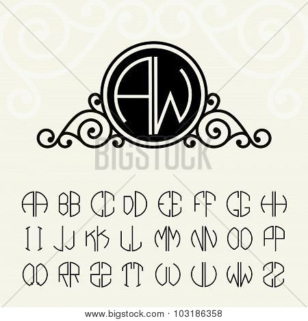 Stylish and graceful floral monogram design and Set  template letters to create monograms of two let