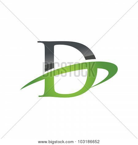 Initial letter D company swoosh logo green