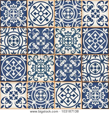 Gorgeous seamless patchwork pattern from dark blue and white Moroccan tiles, ornaments. Can be used for wallpaper, pattern fills, web page background, surface textures. poster