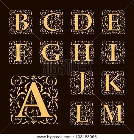 Vintage set capital letters, floral Monograms and beautiful filigree font. Art Deco, Nouveau, Modern