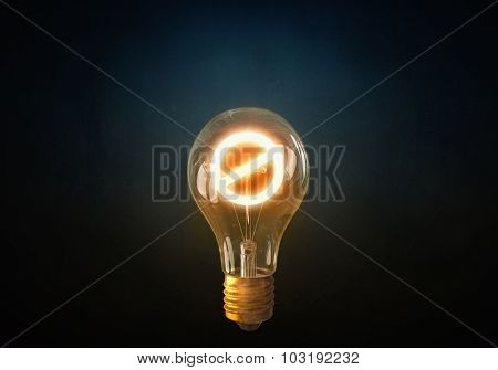 Glass glowing light bulb with prohibition sign inside poster