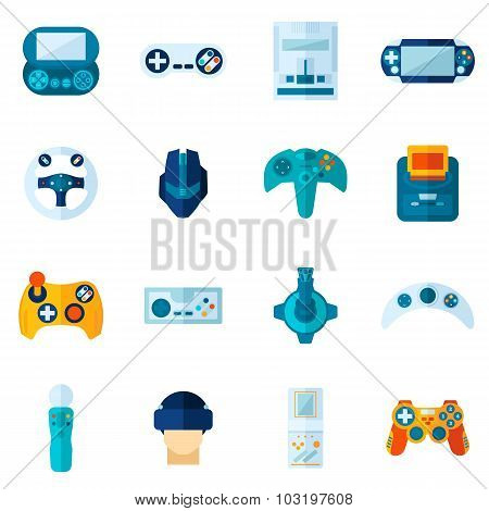 Video Game Flat Icons Set