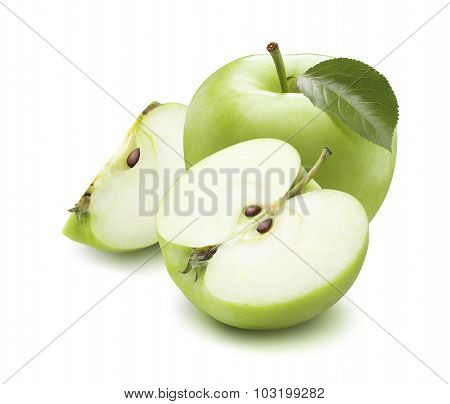 Whole green apple half and quarter pieces square composition isolated on white background poster