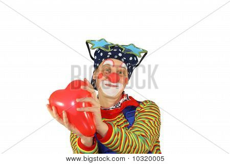 Clown with inflatable Heart