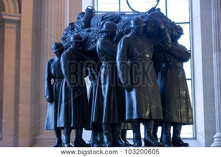 PARIS, FRANCE - SEPTEMBER 7, 2014: Paris - The National Residence of the Invalids. The tomb of Ferdinand Foch (1851-1929) Marshal of France.