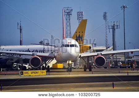 Plane Taxiing In A Airport