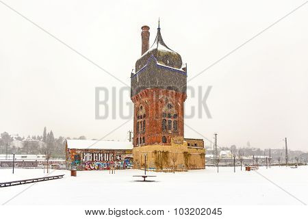 Old Historic Watertower At The Train Station In Wiesbaden