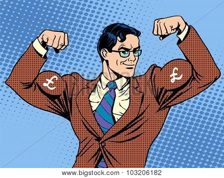Businessman with muscles currency pound sterling