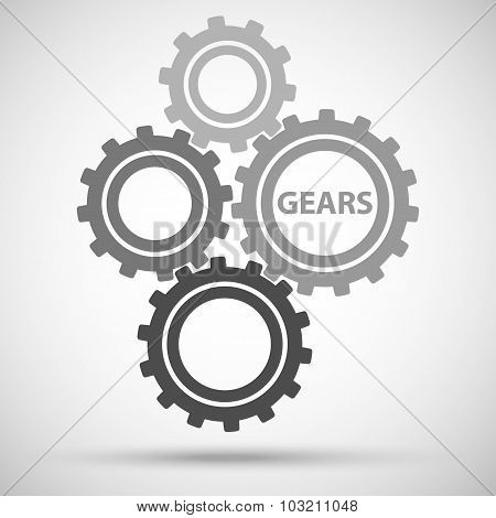 toothed gears (cogs) is meshed on gray background. vector illustration eps10