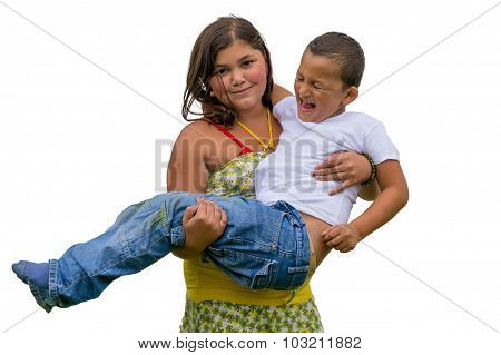 Smiling Gypsy Child Holding Little Screaming And Crying Brother Kid, Isolated On White Background
