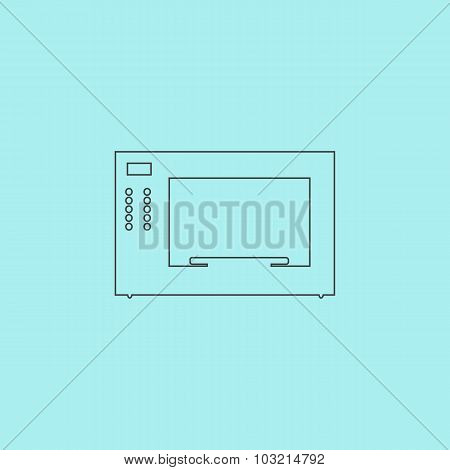 Microwave oven icon, sign and button