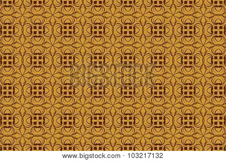 Vintage Abstract Background Of Brown Tracery In Seamless Style
