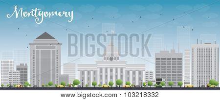 Montgomery Skyline with Grey Building and Blue Sky. Alabama.