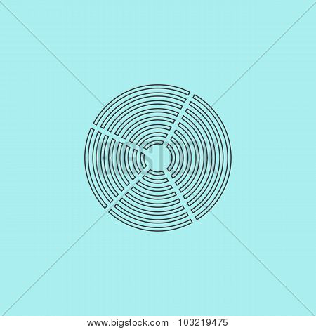 Crop Circle. Simple outline flat vector icon isolated on blue background poster