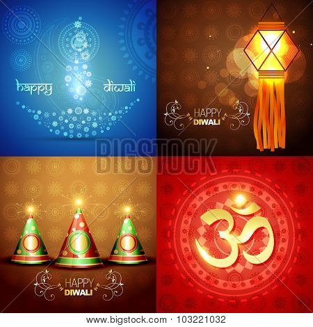 vector set of diwali background with decorated diya in floral design , crackers and diwali element