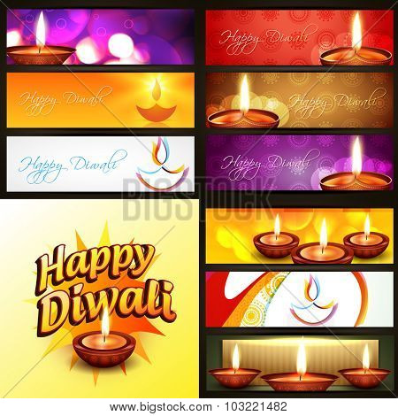 vector set of diwali banner in different style and background illustration