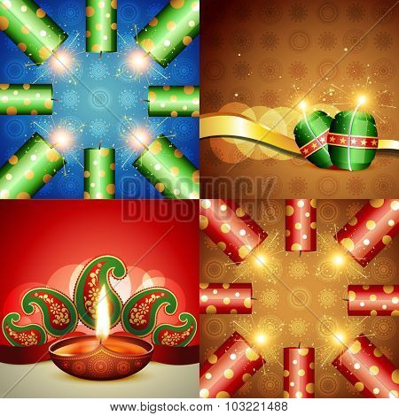 vector collection of diwali festival background with crackers and diya
