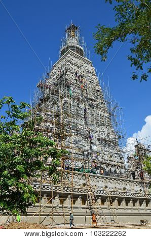 People Building At The Wat Joung Kum Temple In Lampang Thailand