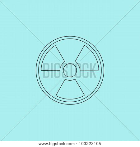 Radiation Simple outline flat vector icon isolated on blue background poster
