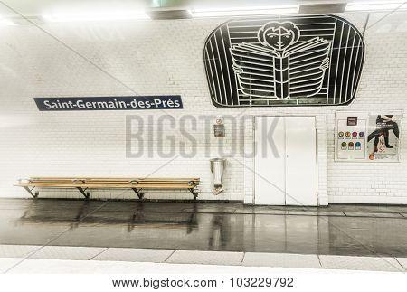 Subway Station  Saint-germain-des-pres In Paris, France