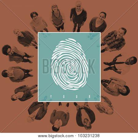 Fingerprint Identity Scanner Protection Verification Concept poster
