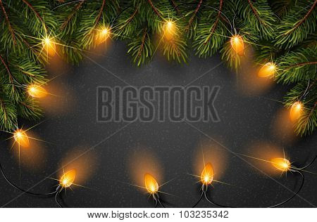 Christmas light with fir branches on black texture. Vector illustration