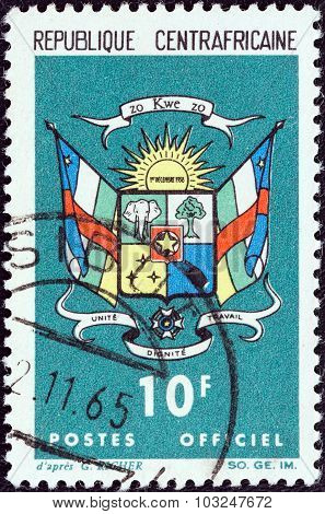CENTRAL AFRICAN REPUBLIC - CIRCA 1965: Stamp shows Coat Of Arms