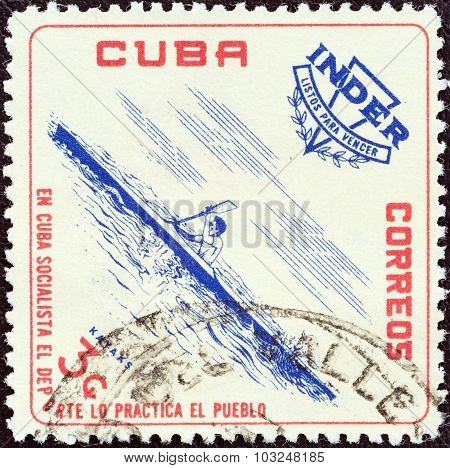 CUBA - CIRCA 1962: A stamp printed in Cuba shows Kayak