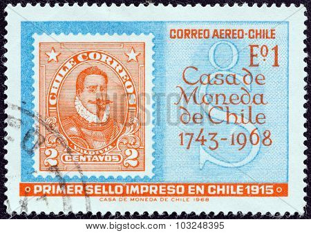 CHILE - CIRCA 1968: Stamp shows first Chilean stamp printed by the mint