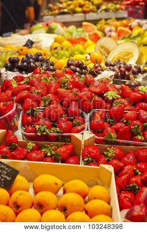 Strawberries In A Fruit Stall