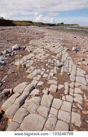 Jurassic Period Lias Stone On Doniford Beach, Exmoor, Uk