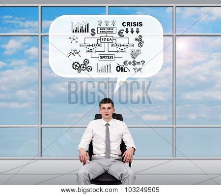 Broker dreaming about business plan sitting in office poster