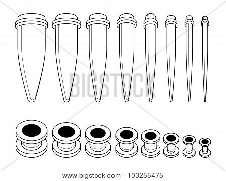 Set of ear tunnels and taper starters kit. Contour