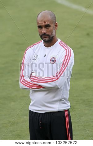 Coach Josep Guardiola Of Bayern Munchen Before The Start Of Uefa Champions League Game Between Olymp