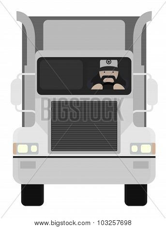 Cartoon style truck driver driving. No outline