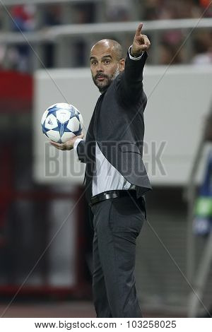Coach Josep Guardiola Of Bayern Munchen During The Uefa Champions League Game Between Olympiacos And