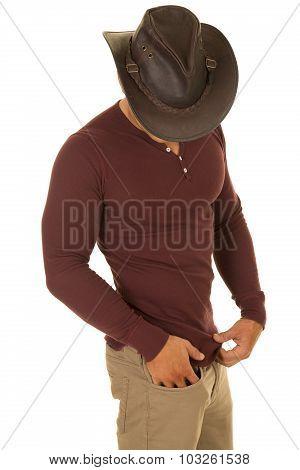 Cowboy Red Shirt Look Down