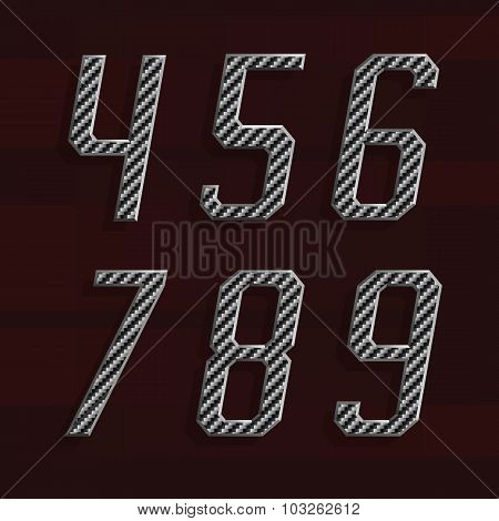 Carbon fiber Alphabet Vector Font. Part 6 of 6. Numbers 4-9.