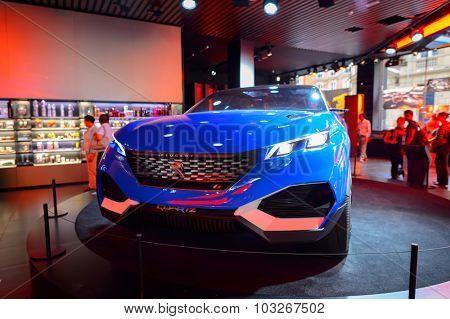 PARIS, FRANCE - AUGUST 09, 2015: Peugeot car. Peugeot is a French cars brand, part of PSA Peugeot Citroen