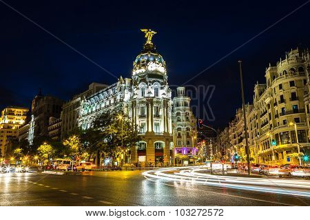 Metropolis hotel in Madrid in a beautiful summer night Spain poster